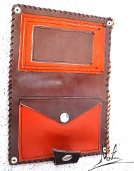 Δερμάτινο πορτοφόλι πορτοκαλί-καφέ