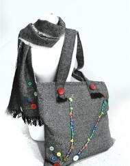 Μάλλινη τσάντα με φόδρα σουετίνης και φερμουάρ