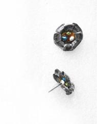 Ασημένια σκουλαρίκια με σμάλτο και μαργαριτάρια