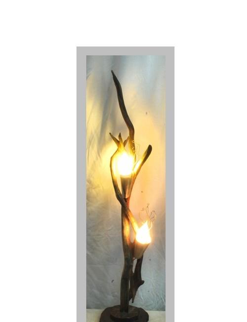 Ξύλινο φωτιστικό με αλπακά