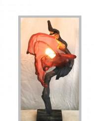 Ξύλινο φωτιστικό με αλουμίνιο, ύφασμα και χαλκό