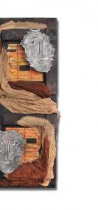 Διακοσμητικό τοίχου από ξύλο, κεραμικό και ύφασμα