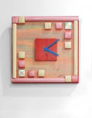 Τετράγωνο ρολόι με ξύλο και κεραμικά στοιχεία. Γερμανικός μηχανισμός