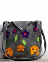 υφασμάτινη τσάντα με δυο εσωτερικα τσεπακια